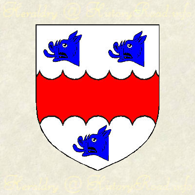 Hames Abercrombie (1750). Argent, a fesse engrailed gules, between three boars' heads couped azure.