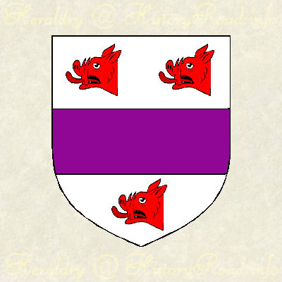 John Abell.  Argent, a fess purpure, between three boars' heads couped gules.