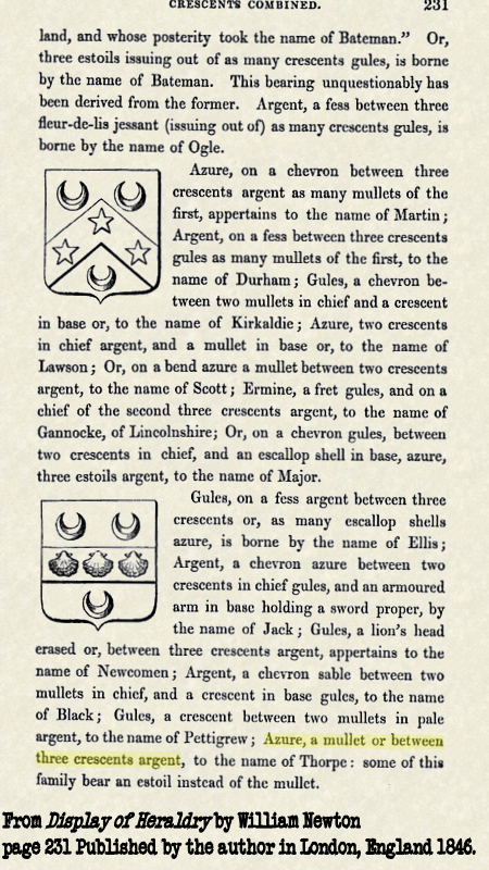 Description of coat of arms from 1846 in London, England.