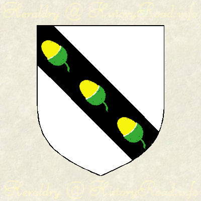 The Arms of George Ackers 1852.  Argent, on a bend sable, three acorns or, husked vert.