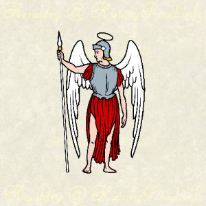 Angels are frequently used as supporters for coats of arms but a less likely to be found on the crest or used as a charge.