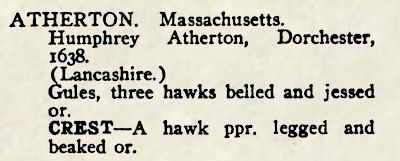 The citation for Humphrey Atherton in Crozier's General Armory