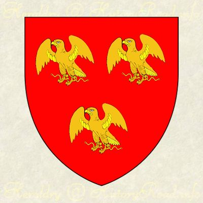 The coat of arms of Humphrey Atherton: Gules, three hawks belled and jessed or.