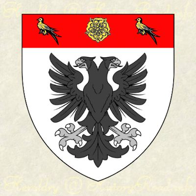The coat of arms of Roger Atkinson: Argent, an eagle displayed with two heads sable; on a chief gules, a rose between two martlets or
