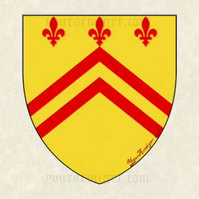 The coat of arms of Nicholas Barber: Or, two chevronels gules in chief three fleurs-de-lis of the last