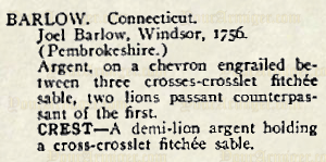 The citation for Joel Barlow in Crozier's General Armory