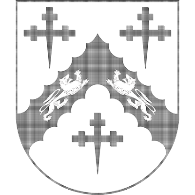 The coat of arms and family crest of Joel Barlow shown with hatchings