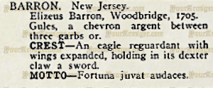The citation for Elizeus Barron in Crozier's General Armory