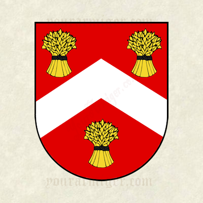 The coat of arms of Elizeus Barron: Gules, a chevron argent between three garbs or.
