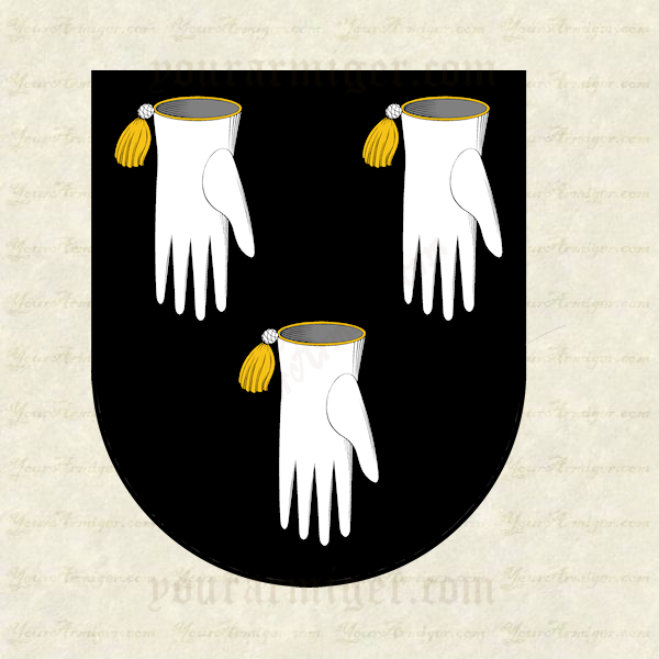 The coat of arms of Richard Bartlett: Sable, three falconers' sinister gloves pendant argent, tasseled or.