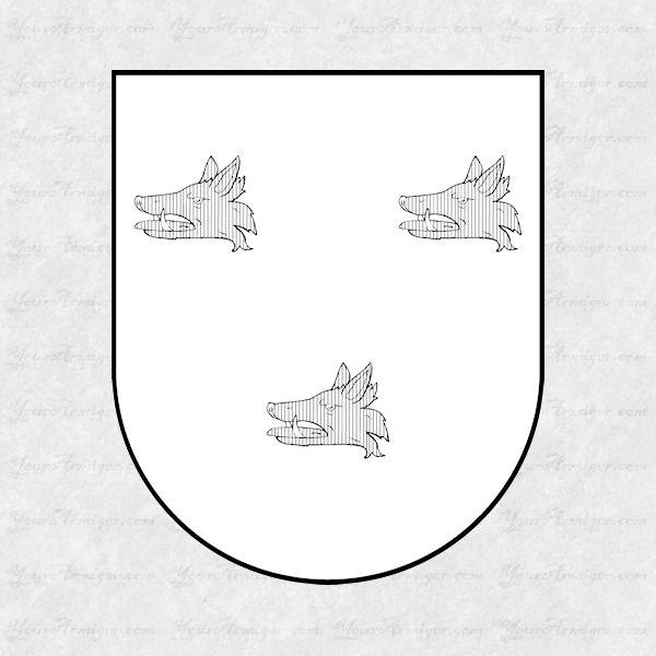 The coat of arms and family crest of Dr. Thomas Barton shown with hatchings