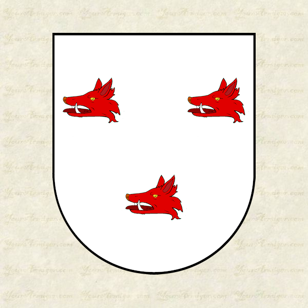 The coat of arms of Dr. Thomas Barton: Argent, three boars' heads couped gules armed of the first.