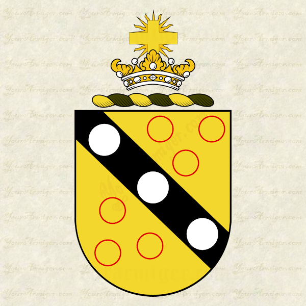 The coat of arms and family crest of Rev. John Bartow