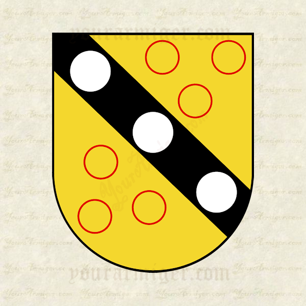 The coat of arms of Rev. John Bartow: Or, on a bend sable, between six annulets gules, three plates