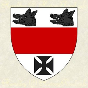 Argent, a fesse Gules, between two boars heads couped in chief and a cross pattée Sable.
