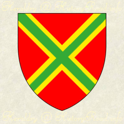 The Coat of Arms of John Andrews: Gules, a saltire or, surmounted of another vert.