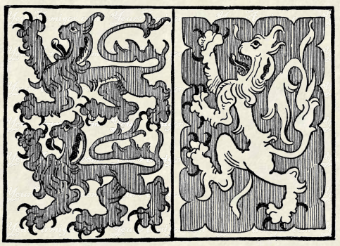 Fig. 275.—Arms of Strange and Talbot. (From a design for a banner.)