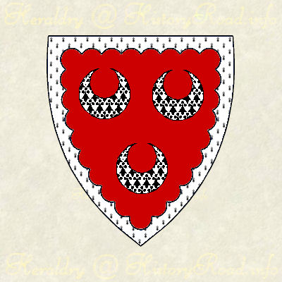 The coat of arms of John Alden of the Plymouth colony.  Gules, three crescents within a bordure engrailed ermine.