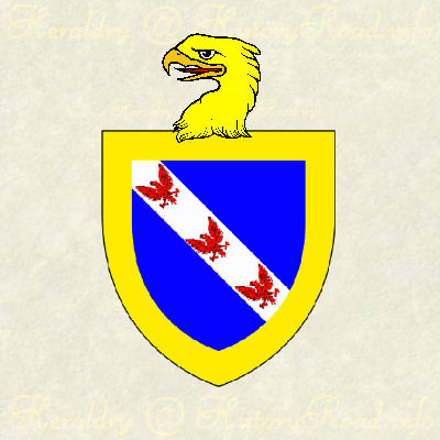Azure, on a bend Argent, three eagles displayed gules, winthin a bordure or.  Crested with an eagle's head erased Or.