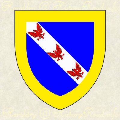 The Arms of Johnathan Amory: Azure, on a bend Argent, three eagles displayed gules, winthin a bordure or.
