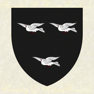 The arms of Joseph Alsop: Sable, three doves volant Argent, beaks and legs Gules.