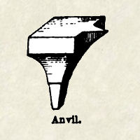 "An anvil from ""A Glossary of Terms Used in Heraldry"" by Parker and Company."