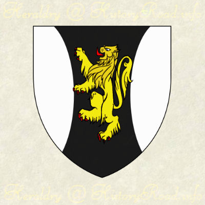 The shield of John Seeley Adams of Syracuse, New York.  The Arms blazoned: Sable, between two flaunches argent, a lion rampant or.
