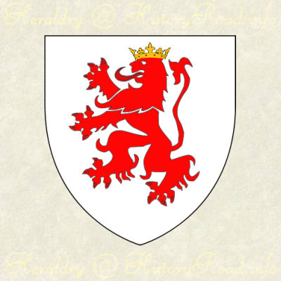 The coat of arms of the family Roche as described by Parker & Company.  Argent, a lion rampant gules, crowned with an antique crown or.