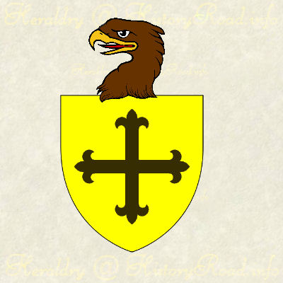 The Arms of Roger Ainslie of New York: Or, a cross flory sable. Crested with a eagle's head erased.