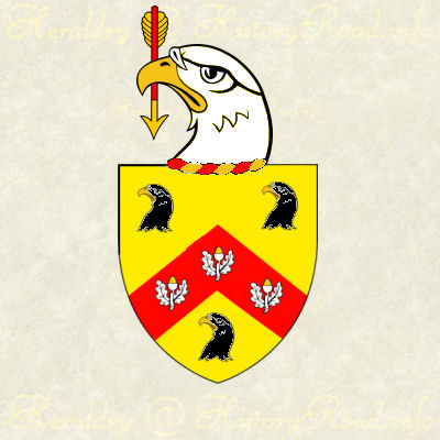 An eagle's head erased argent, holding in the beak paleways an arrow gules, headed and feathered or.