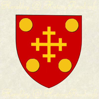 The shield of the Aiken family.  Gules, a cross crosslet or, cantoned with four bezants.