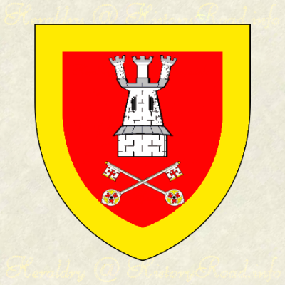 Gules, a bordure Or, a tower of three turrets, two keys crossed in base Argent.