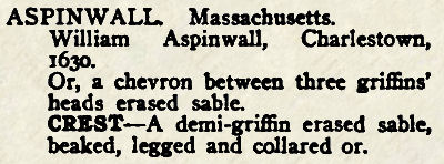 The citation for William Aspinwall in Crozier's General Armory