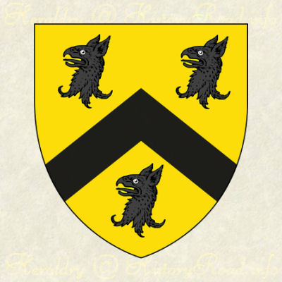 The coat of arms of William Aspinwall: Or, a chevron between three griffins' heads erased Sable.